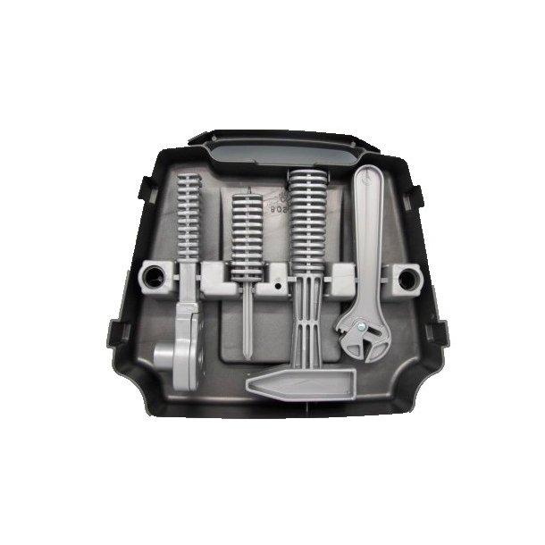 Værktøjskasse med værktøj grå